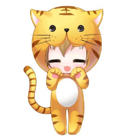 Анимация Чиби Тайга Айсака / Taiga Aisaka из аниме ТораДора! / Toradora! в костюме тигра, by clytzemi