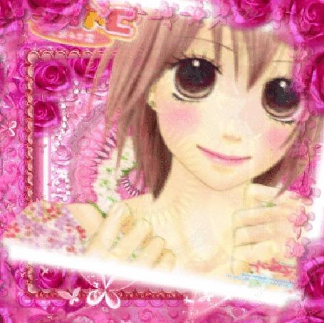 Анимация Девушка одевает цветочный венок на шею, в рамке из роз