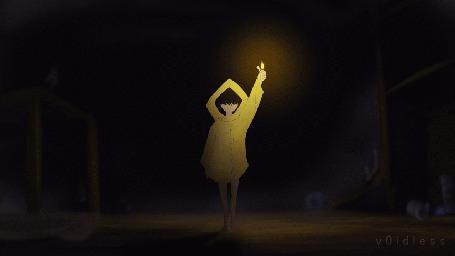 Анимация Девочка в плаще с зажигалкой в руке, персонаж из игры Little Nightmares / Маленькие кошмары, by v0idless