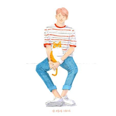 Анимация Котик сидит на руках у парня и источает любовь, by gogorongstudio