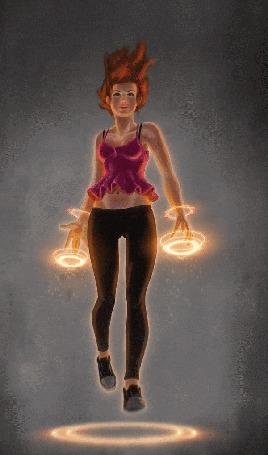 Анимация Девушка с огненными кругами парит над огненным кругом