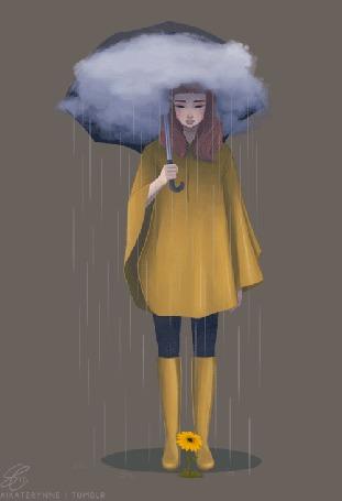 Анимация Девушка с зонтом с тучкой стоит под дождем