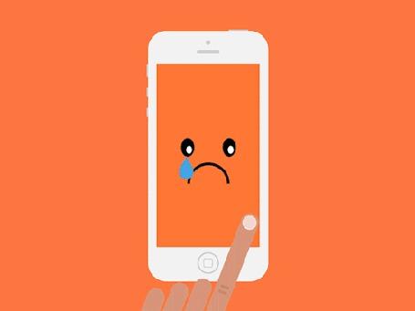 Анимация Рукой перелистывается дисплей экрана телефона