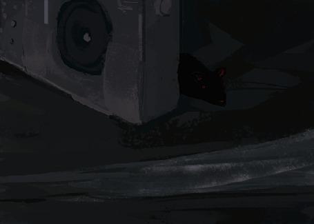 Анимация Крыса смотрит на капли дождя