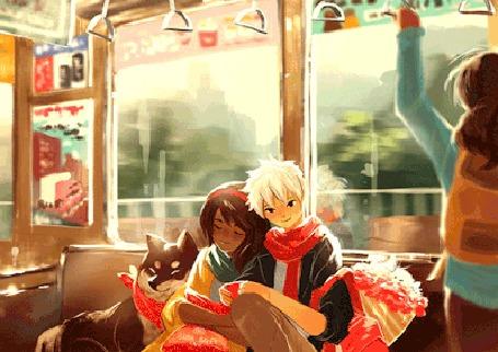 Анимация Дети с собакой едут в автобусе, by nkim-doodles