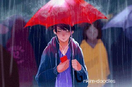 Анимация Парень с красным зонтом под дождем, by nkim-doodles