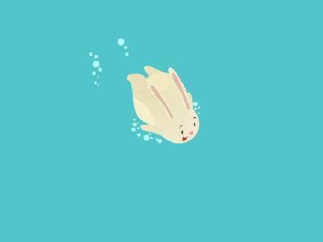 Анимация Белый кролик под водой