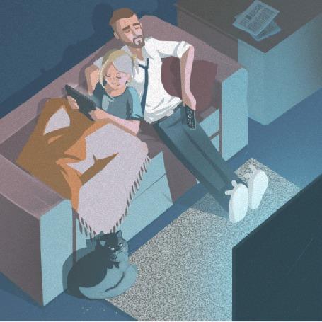 Анимация Парень с девушкой на диване, перед которым на полу лежит кошка