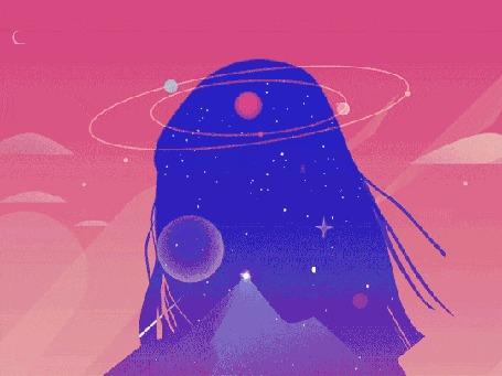 Анимация Стреляют из рогатки и появляется космическая девушка на розовом фоне