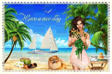 Анимация Девушка с собакой на берегу моря (Have a nice day / Хорошего дня)