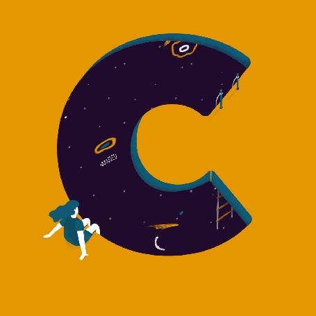 Анимация Девушка сидит перед огромной буквой с космосом