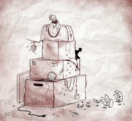 Анимация Черные коты прячутся за коробками, by maskman626