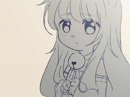 Анимация Неко-девушка с развивающимися на ветру волосами, by Joyfool