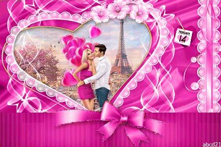 Анимация Парень целует девушку на фоне Эйфелевой башни, by abcd21