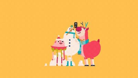 Анимация Смешные рождественские персонажи диснеевских мультфильмов делают селфи