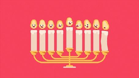 Анимация Рука спичкой зажигает свечи в большом подсвечнике