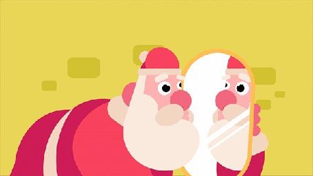 Анимация Санта - Клаус / Santa Claus целует свое отражение в зеркале