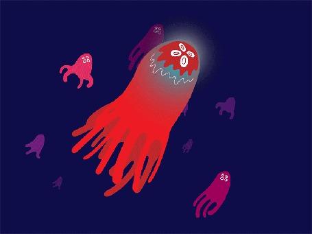 Анимация Красная и розовые медузы на синем фоне