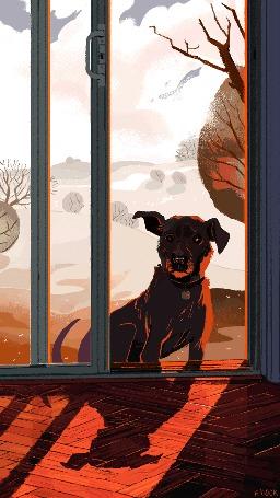 Анимация Собака сидит около стеклянных дверей и смотрит внутрь дома
