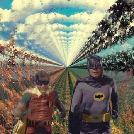 Анимация Бэтман и Робин в масках, американский телевизионный сериал 1960-х годов Batman / Бэтман