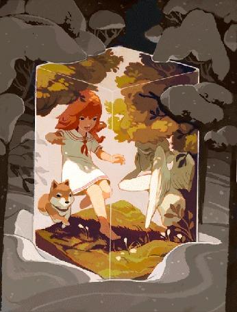 Анимация Девочка рядом с лисичкой посреди летнего леса, в волшебном кубе в зимнем заснеженном ельнике, работа Sachin Teng