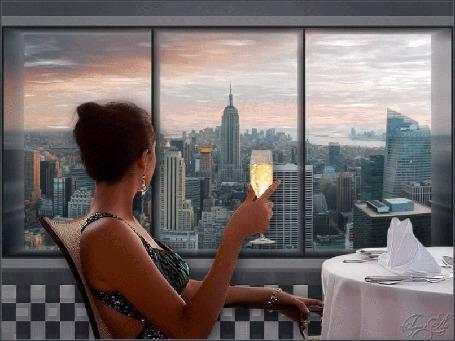 Анимация Девушка с бокалом шампанского, сидя за столом, смотрит в окно, by tim2ati