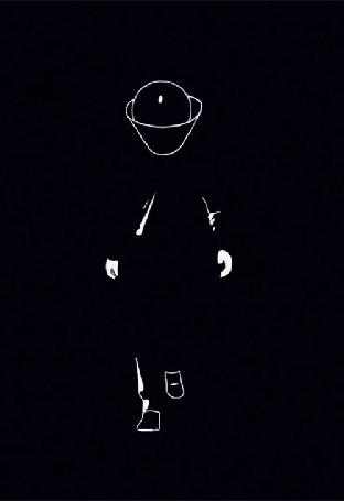 Анимация Фигура мужчины в шляпе, идущего в кромешной темноте