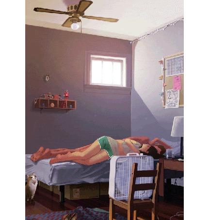 Анимация Пара влюбленных лежит на кровати, сверху комнату овевает прохладой включенный вентилятор, на полу сидит кот