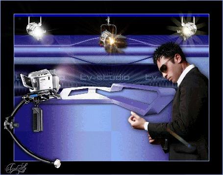 Анимация Мужчина стоит на фоне стены, на которой мигает надпись TV-studio / ТВ-студия, by tim2ati
