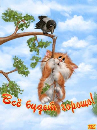 Анимация Котик лезет по сломанной ветке дерева за птицей (Все будет хорошо!), by NZ