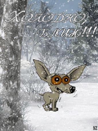 Анимация Маленькая собака мерзнет под снегом (Холодно блин!), by NZ
