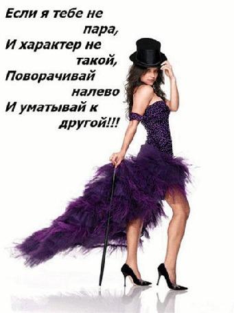 Анимация Девушка в фиолетовом вечернем платье и цилиндре держит тросточку (Если я тебе не пара, И характер не такой, Поворачивай налево, И уматывай к другой!)