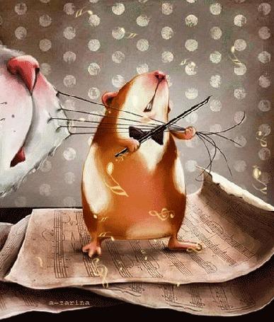 Анимация Хомяк в бабочке играет смычком на усах кота, by a-zarina