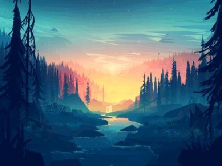 Анимация Лес с рекой на восходе солнца, by Mikael Gustafsson
