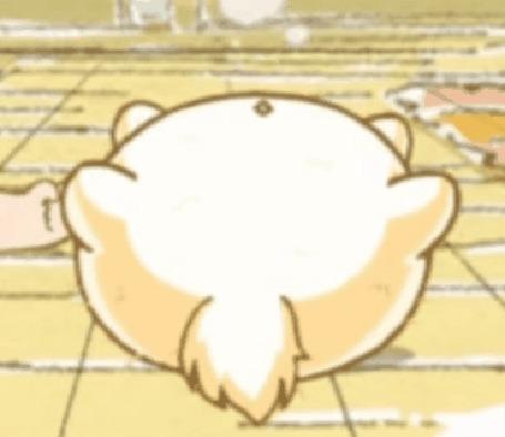 Анимация Пуфик спит на спине, кадр из аниме Хроники Пуфика