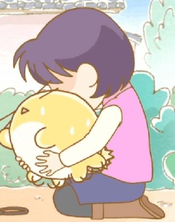 Анимация Маки тискает Пуфика, кадр из аниме Хроники Пуфика
