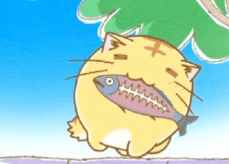 Анимация Пуфик радостно прыгает на заборе с рыбкой во рту, кадр из аниме Хроноки Пуфика