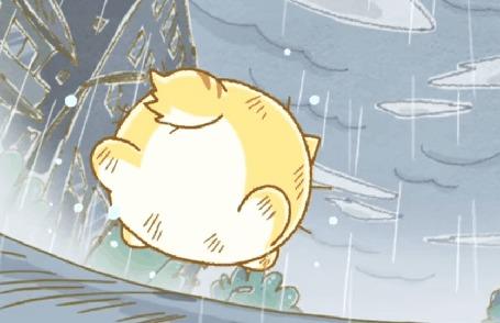 Анимация Пуфик бежит под дождем, кадр из аниме Хроники Пуфика