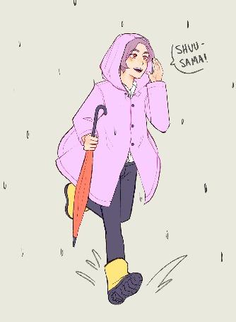 Анимация Девушка с зонтом идет под дождем (Shuu sama)