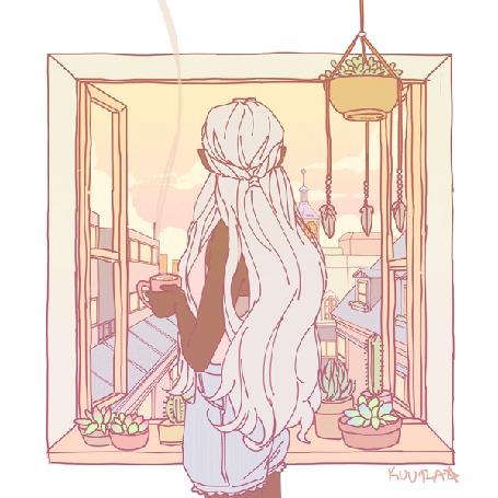Анимация Девушка с чашкой горячего чая стоит у окна, by Kuura