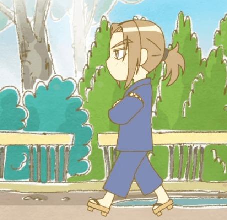 Анимация Хидэ Сато / Hide Satou в старинном летнем кимоно и гэта, кадр из аниме Хроники Пуфика / Poyopoyo Kansatsu Nikki