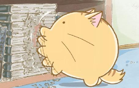 Анимация Пуфик / Poyo царапает книжки Хидэ Сато / Hide Satou, кадр из аниме Хроники Пуфика / Poyopoyo Kansatsu Nikki