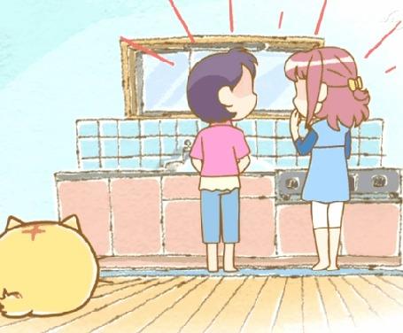 Анимация Пуфик / Poyo вытягивается чтоб заглянуть на стол, кадр из аниме Хроники Пуфика / Poyopoyo Kansatsu Nikki