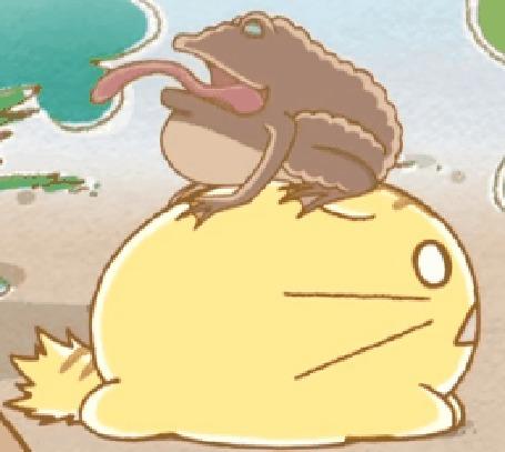Анимация Большая жаба квакает на Пуфике / Poyo, кадр из аниме Хроники Пуфика / Poyopoyo Kansatsu Nikki
