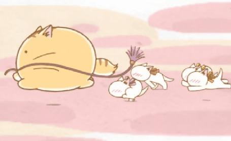 Анимация Пуфик / Poyo играет с котятами шнурком, кадр из аниме Хроники Пуфика / Poyopoyo Kansatsu Nikki