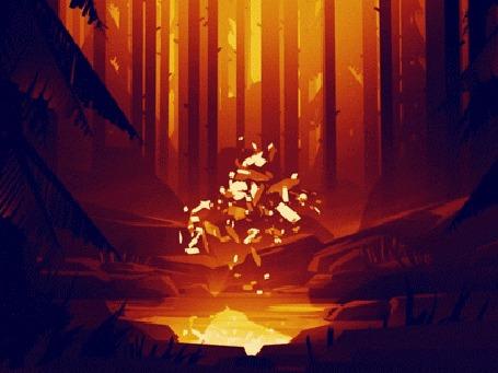 Анимация Золотое свечение над водой в ночном лесу, by Mikael Gustafsson