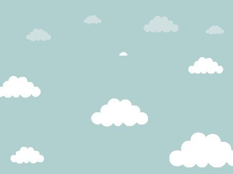Анимация Падающий человечек в облаках