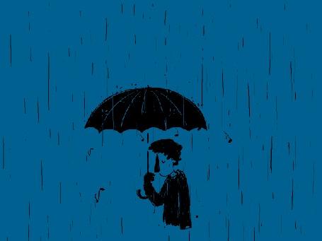 Анимация Парень стоит под дождем с падающими нотами, с зонтом в руке