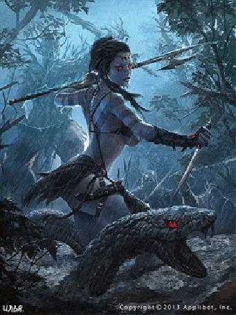 Анимация Девушка воин на болоте с анакондой
