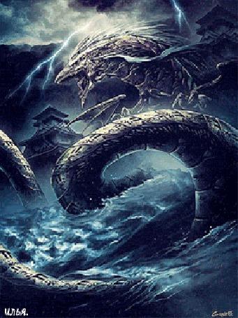 Анимация Дракон Рюдзин - бог моря